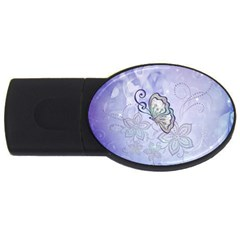 Wonderful Butterlies With Flowers Usb Flash Drive Oval (2 Gb)