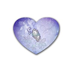 Wonderful Butterlies With Flowers Heart Coaster (4 Pack)