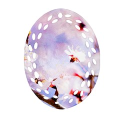 Pink Sakura Purple Background Oval Filigree Ornament (two Sides)