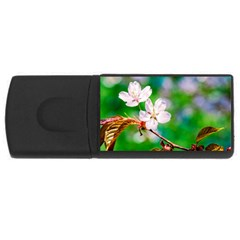 Sakura Flowers On Green Rectangular Usb Flash Drive