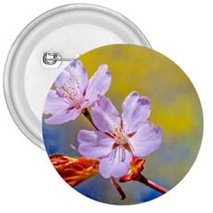 Sakura Flowers On Yellow 3  Buttons
