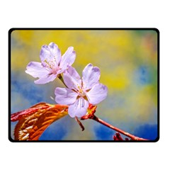 Sakura Flowers On Yellow Double Sided Fleece Blanket (small)  by FunnyCow