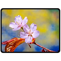 Sakura Flowers On Yellow Double Sided Fleece Blanket (large)