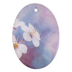 Pink Mist Of Sakura Oval Ornament (two Sides) by FunnyCow