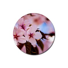 Three Sakura Flowers Rubber Round Coaster (4 Pack)