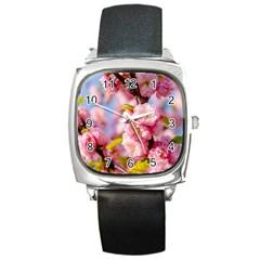 Flowering Almond Flowersg Square Metal Watch