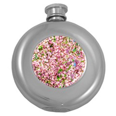 Almond Tree In Bloom Round Hip Flask (5 Oz) by FunnyCow