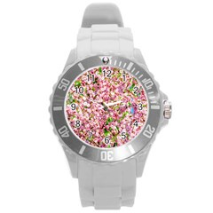 Almond Tree In Bloom Round Plastic Sport Watch (l)