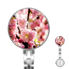 Blooming Almond At Sunset Stainless Steel Nurses Watch