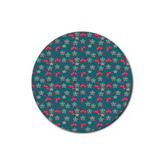 Teal Hats Rubber Round Coaster (4 Pack)  by snowwhitegirl