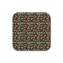 Brown With Blue Hats Rubber Square Coaster (4 Pack)