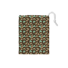Brown With Blue Hats Drawstring Pouches (small)