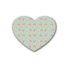 Mauve Winter Hat Heart Coaster (4 Pack)