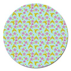 Blue Star Yellow Hats Magnet 5  (round)