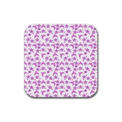 Violet Winter Hats Rubber Square Coaster (4 Pack)