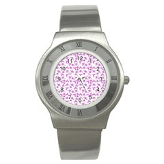 Violet Winter Hats Stainless Steel Watch