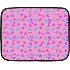 Pink Star Blue Hats Fleece Blanket (mini)
