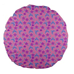Pink Star Blue Hats Large 18  Premium Flano Round Cushions