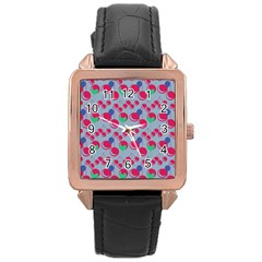 Bubblegum Cherry Blue Rose Gold Leather Watch