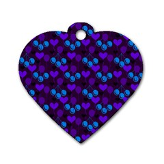 Night Cherries Dog Tag Heart (one Side)