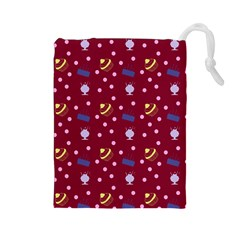 Cakes And Sundaes Red Drawstring Pouches (large)