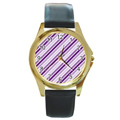 Violet Stripes Round Gold Metal Watch