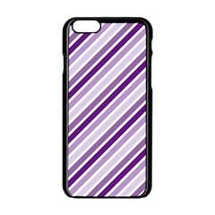 Violet Stripes Apple Iphone 6/6s Black Enamel Case