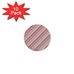 Candy Diagonal Lines 1  Mini Buttons (10 Pack)