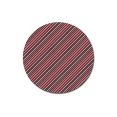 Brownish Diagonal Lines Magnet 3  (round)