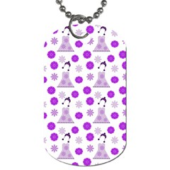 Lilac Dress On White Dog Tag (one Side)