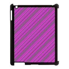 Pink Violet Diagonal Lines Apple Ipad 3/4 Case (black)