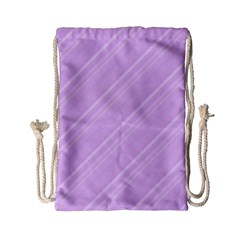 Lilac Diagonal Lines Drawstring Bag (small)