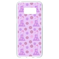 Violet Pink Flower Dress Samsung Galaxy S8 White Seamless Case