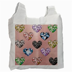 Gem Hearts And Rose Gold Recycle Bag (two Side)