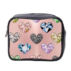 Gem Hearts And Rose Gold Mini Toiletries Bag 2 Side