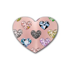 Gem Hearts And Rose Gold Rubber Coaster (heart)