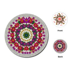 Fauna Fantasy Bohemian Midsummer Flower Style Playing Cards (round)