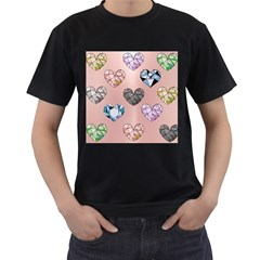 Gem Hearts And Rose Gold Men s T Shirt (black) by 8fugoso