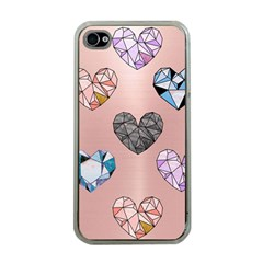 Gem Hearts And Rose Gold Apple Iphone 4 Case (clear) by 8fugoso