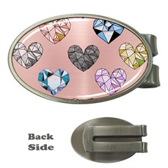 Gem Hearts And Rose Gold Money Clips (oval)