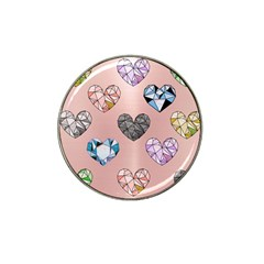 Gem Hearts And Rose Gold Hat Clip Ball Marker (10 Pack)