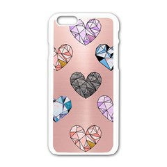 Gem Hearts And Rose Gold Apple Iphone 6/6s White Enamel Case