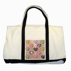 Gem Hearts And Rose Gold Two Tone Tote Bag