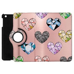 Gem Hearts And Rose Gold Apple Ipad Mini Flip 360 Case by 8fugoso