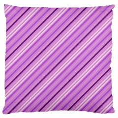 Violet Diagonal Lines Large Flano Cushion Case (one Side) by snowwhitegirl