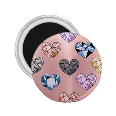 Gem Hearts And Rose Gold 2 25  Magnets