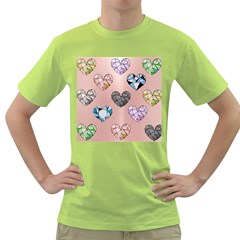 Gem Hearts And Rose Gold Green T Shirt