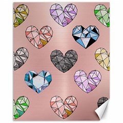 Gem Hearts And Rose Gold Canvas 11  X 14   by 8fugoso