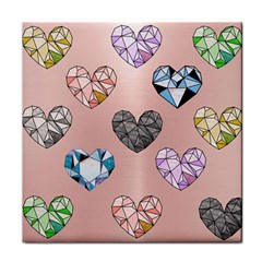 Gem Hearts And Rose Gold Face Towel