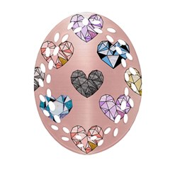 Gem Hearts And Rose Gold Ornament (oval Filigree)